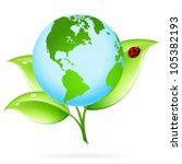 green earth icon with leaves... | Shutterstock .eps vector #105382193