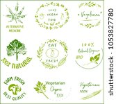 hand drawn labels and elements... | Shutterstock .eps vector #1053827780