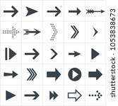 arrow icons. black flat set of... | Shutterstock .eps vector #1053838673