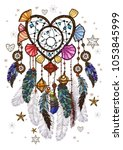 colored bohemian vector... | Shutterstock .eps vector #1053845999