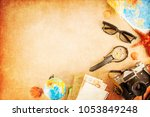 outfit of traveler with copy... | Shutterstock . vector #1053849248