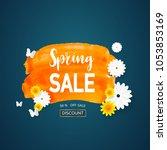spring sale watercolor orange... | Shutterstock .eps vector #1053853169