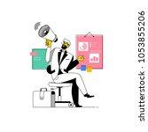 businessman shouting into... | Shutterstock .eps vector #1053855206