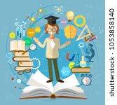 education background. open book ... | Shutterstock .eps vector #1053858140