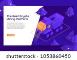 isometric crypto mining concept ... | Shutterstock .eps vector #1053860450