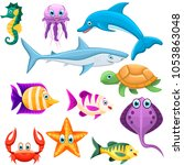 set of underwater animals.... | Shutterstock .eps vector #1053863048