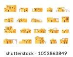 flat design arab mud house set... | Shutterstock .eps vector #1053863849
