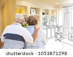 senior couple facing custom... | Shutterstock . vector #1053871298