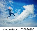 surreal view as a happy... | Shutterstock . vector #1053874100