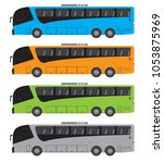 set of tour bus or intercity 15 ... | Shutterstock .eps vector #1053875969