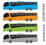 set of tour bus or intercity 15 ... | Shutterstock .eps vector #1053875969