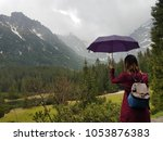 Young girl with umbrella in rainy day in mountains Tatry, Poland - stock photo