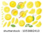 vector set. fresh lemon and... | Shutterstock .eps vector #1053882413