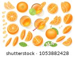 vector set. fresh orange and... | Shutterstock .eps vector #1053882428