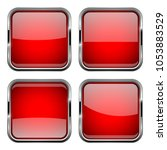 square red buttons. 3d... | Shutterstock . vector #1053883529