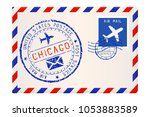 envelope with chicago usa... | Shutterstock . vector #1053883589