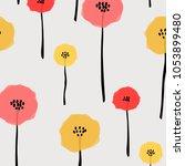 pattern with pastel flower.... | Shutterstock .eps vector #1053899480