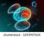 brain research or diagnostic on ... | Shutterstock . vector #1053907634
