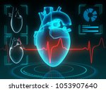 holographic human heart in... | Shutterstock . vector #1053907640