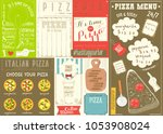 pizzeria placemat   colorful... | Shutterstock .eps vector #1053908024