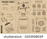 template craft menu for burger... | Shutterstock .eps vector #1053908039