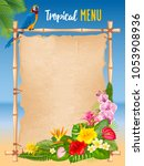 summer tropical design with... | Shutterstock .eps vector #1053908936