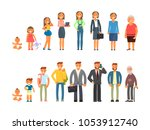 man and woman characters in... | Shutterstock .eps vector #1053912740