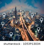 map pin flat of city  global... | Shutterstock . vector #1053913034