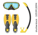 diving mask  flippers and...   Shutterstock .eps vector #1053913094