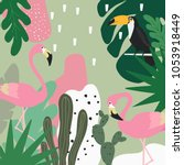 tropical jungle leaves...   Shutterstock .eps vector #1053918449