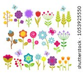 summer flowers isolated... | Shutterstock . vector #1053925550