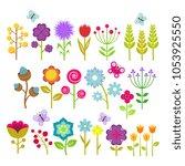 summer flowers isolated... | Shutterstock . vector #1053925550