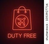 duty free purchase neon light... | Shutterstock .eps vector #1053927716