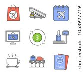 airport service color icons set.... | Shutterstock .eps vector #1053927719