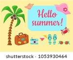 vacation at sea  vacation items ... | Shutterstock .eps vector #1053930464