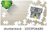 dream house concept with puzzle ... | Shutterstock .eps vector #1053936680