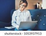 young female entrepreneur... | Shutterstock . vector #1053937913