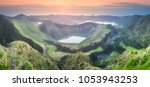 mountain landscape with hiking... | Shutterstock . vector #1053943253
