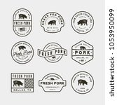 set of premium fresh pork... | Shutterstock .eps vector #1053950099