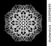 mandala. silver round ornament... | Shutterstock .eps vector #1053950690
