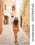 beautiful brunette young woman... | Shutterstock . vector #1053964160