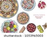 oriental sweets vector... | Shutterstock .eps vector #1053965003