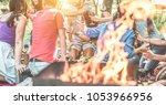 happy friends having picnic... | Shutterstock . vector #1053966956