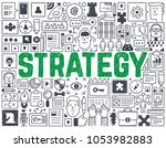 strategy   hand drawn vector... | Shutterstock .eps vector #1053982883