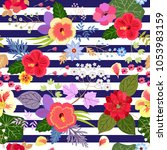 seamless exotic floral pattern... | Shutterstock .eps vector #1053983159