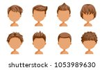 boy hair set. face of a little ... | Shutterstock .eps vector #1053989630