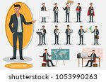 set of young handsome... | Shutterstock .eps vector #1053990263
