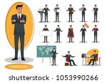 set of young handsome... | Shutterstock .eps vector #1053990266