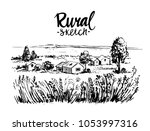 rural landscape. hand drawn... | Shutterstock .eps vector #1053997316