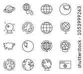 thin line icon set   around the ... | Shutterstock .eps vector #1053999263